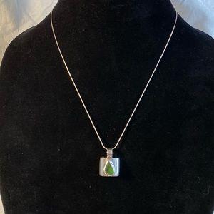 "Vintage Peridot Sterling Pendant Necklace ""Mercee"""